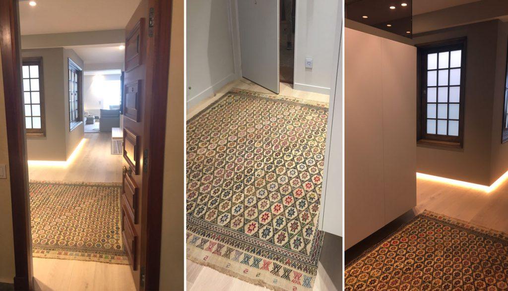 Ejemplo de proyecto propio de Loidi Etxarri Interiorismo con alfombra Nómada, San Sebastián.